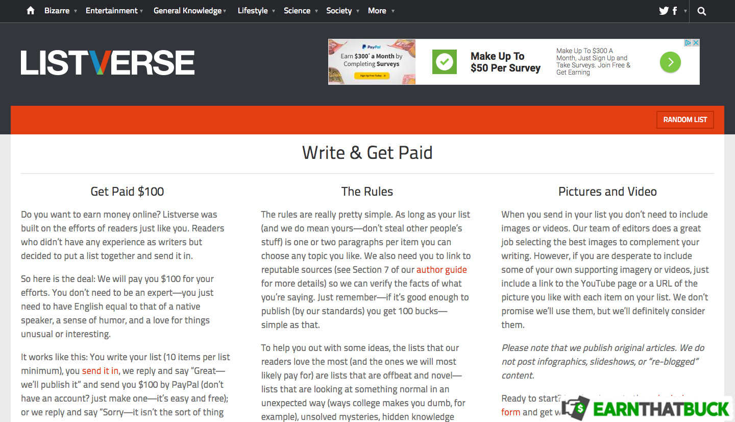 LEGIT - Listverse Review: Write Listicles and Get Paid $100